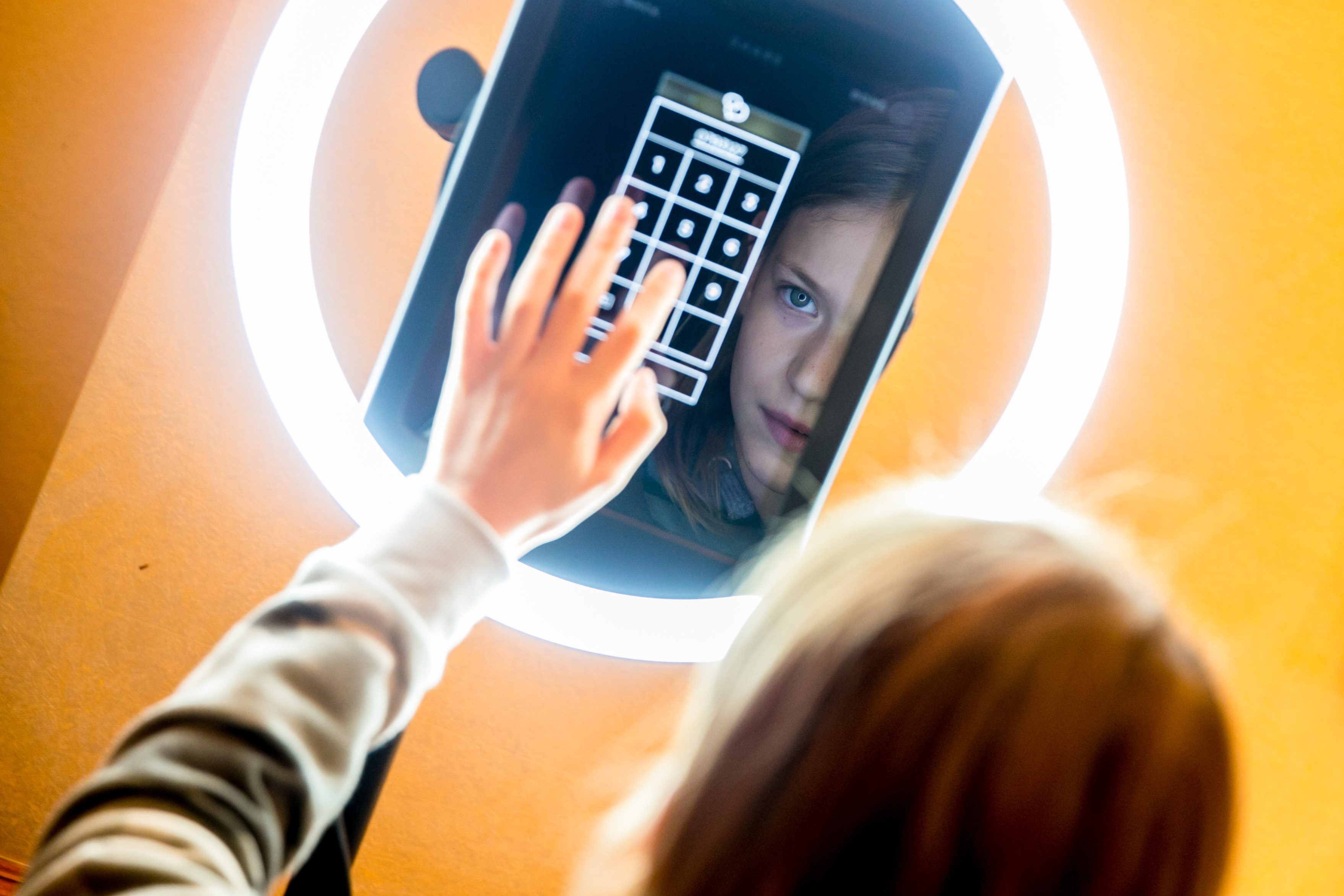 Shot of a guest using the Paparazzi VIP GIF Selfie Photo Booth at a children's party